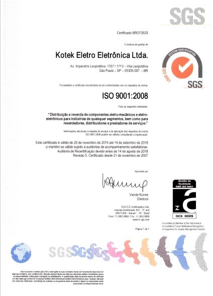 ISO 9001:2008 Kotek Eletro-Eletrônica.